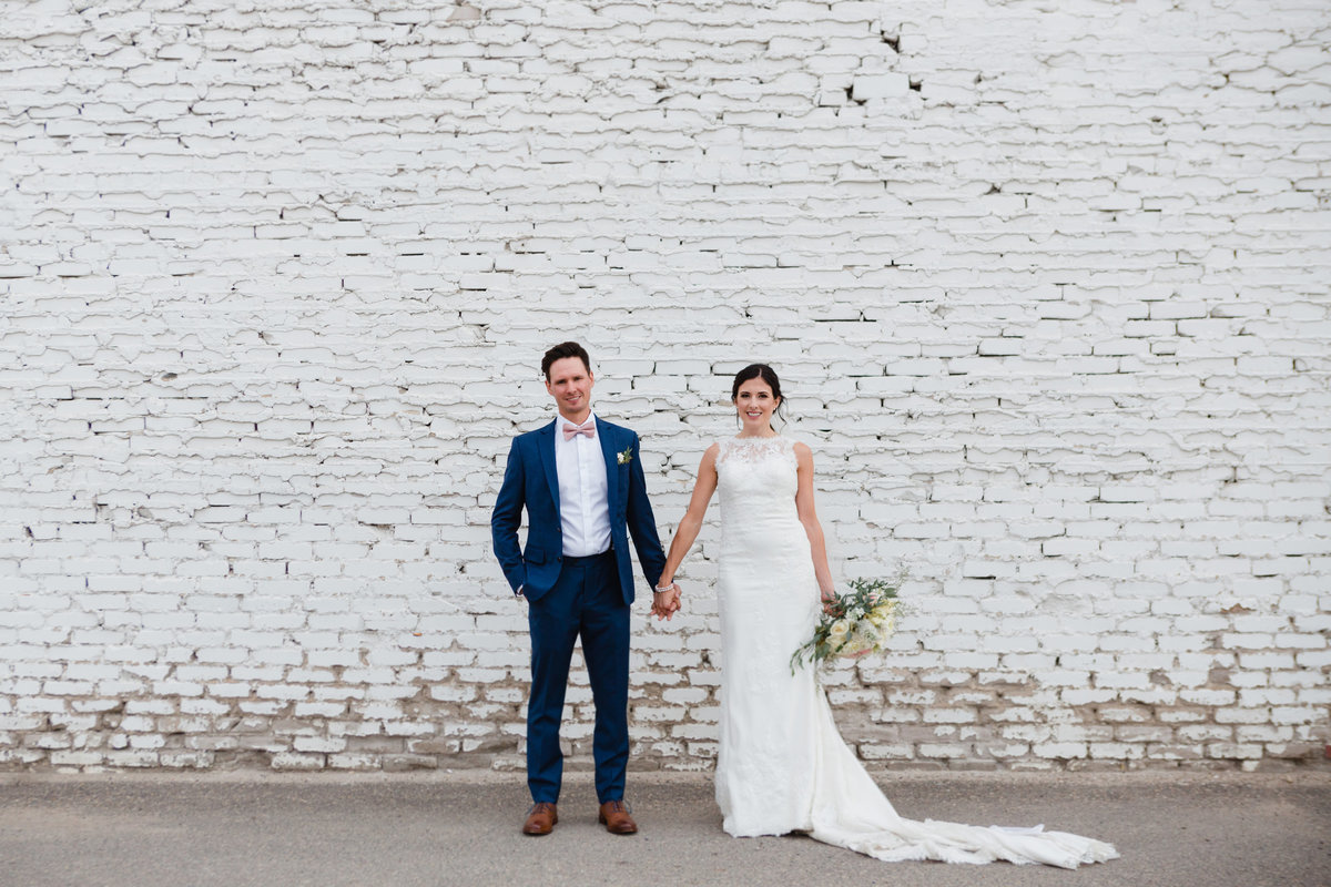 White Brick Wall September Wedding Photos Regina