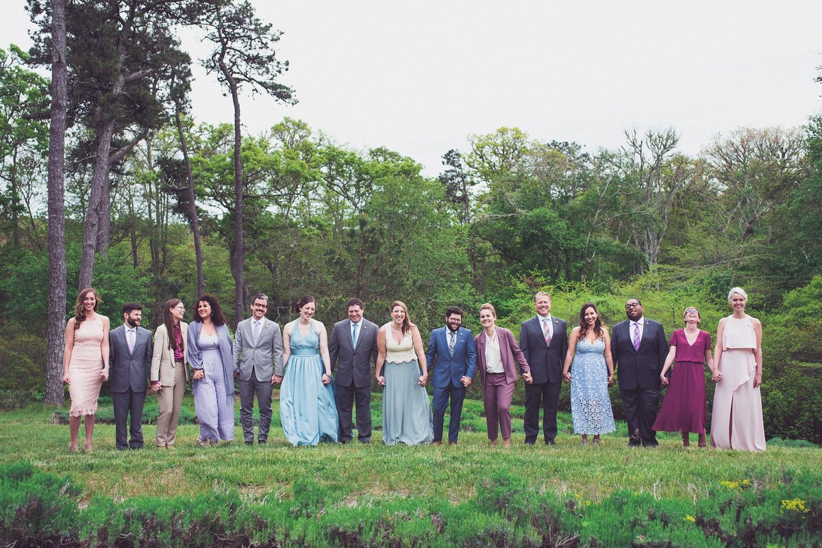 mix matched wedding party cape cod lavender farm
