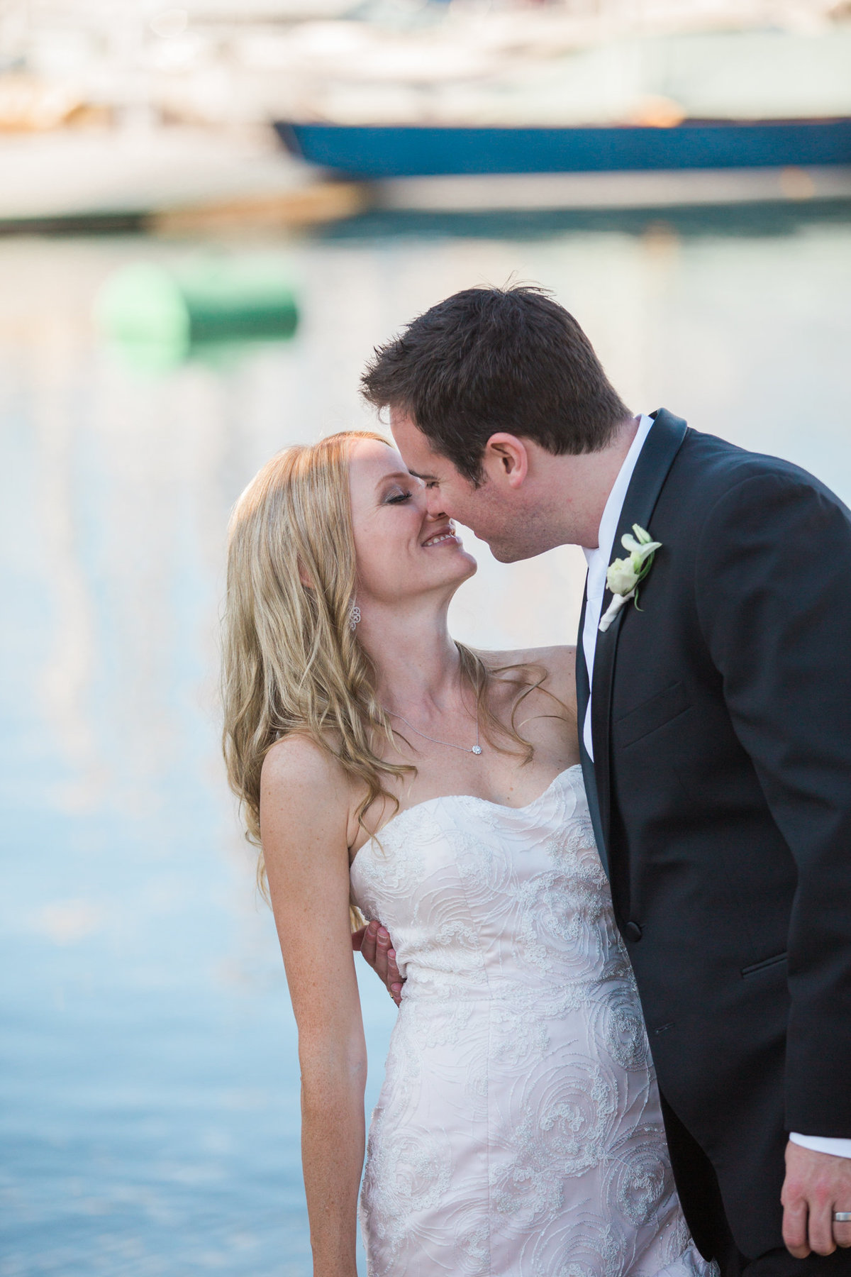 bride & groom at Vancouver Yacht Club wedding