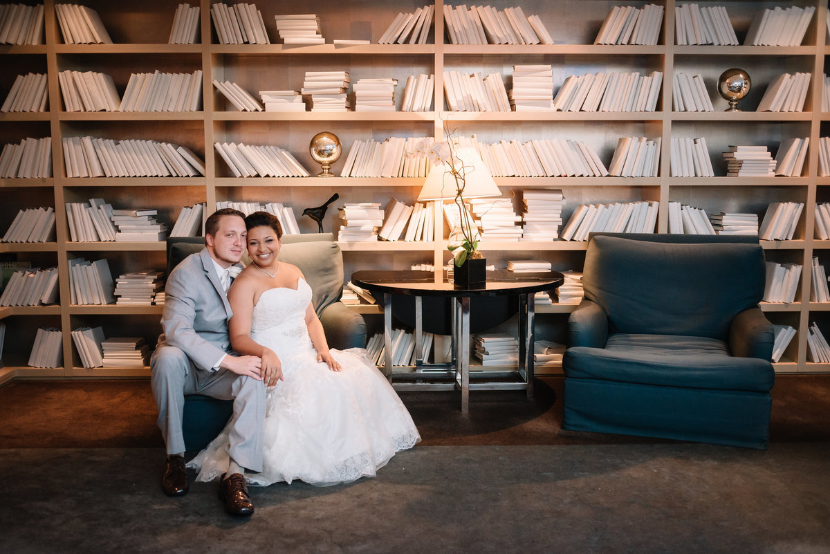 alexandria va kimpton hotel wedding bride and groom in library