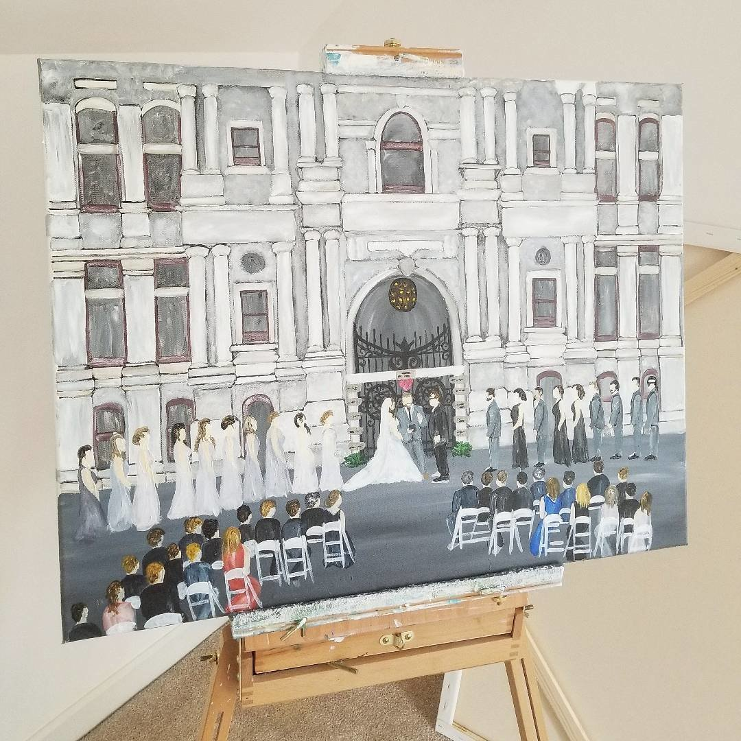 Live painting of wedding outside Philadelphia City Hall