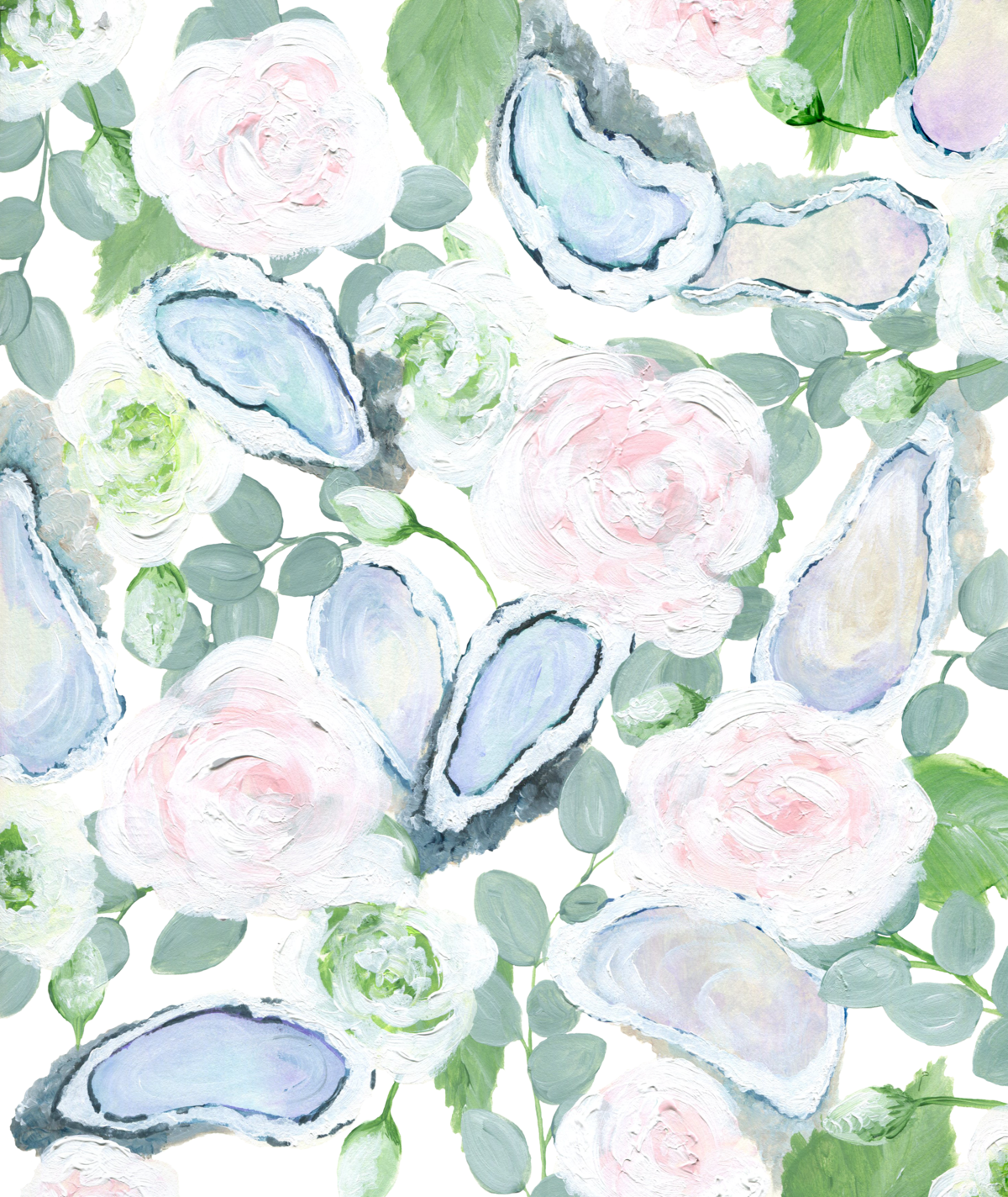 By Brittany Branson hand painted oyster and floral wedding stationery pattern
