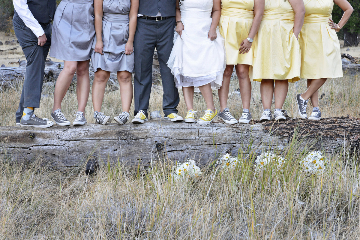bridal party shoes standing on log in alpine california