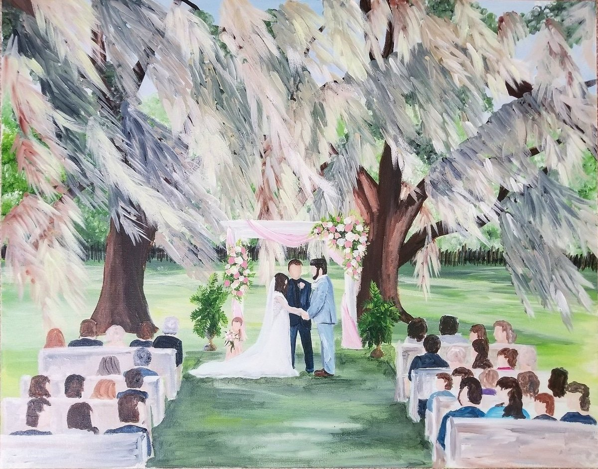 South Georgia Savannah Live Wedding Painting By Brittany Branson