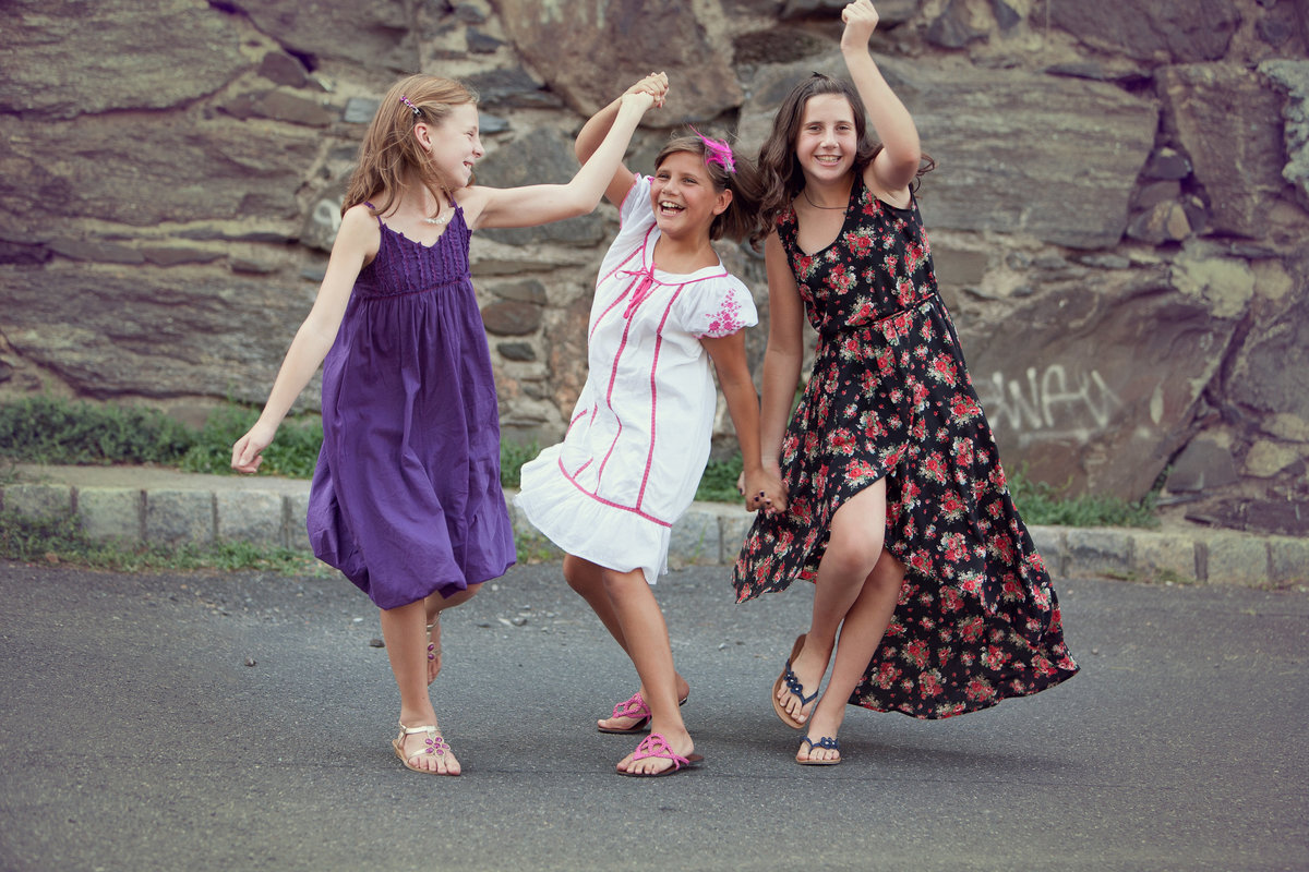 best friends, tweens, kids, children's photography modeling Nella Bella's Beacon NY women's clothing boutique dresses in the Hudson Valley by professional photographer in Cornwall NY