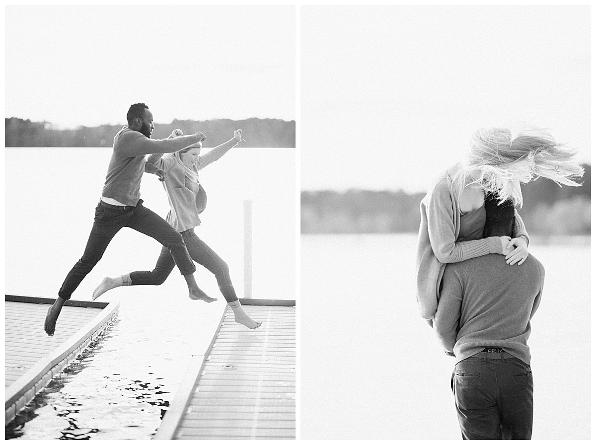 interracial couple moving at engagement session