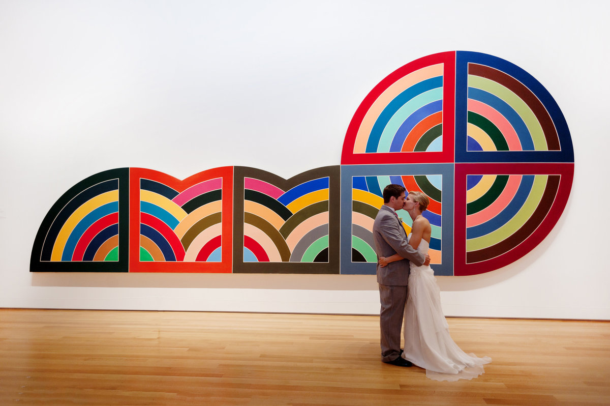 bride and groom kiss in front of a large painting at the nc museum of art in raleigh