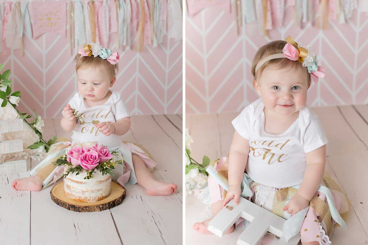 little girl boho cake smash with teepee