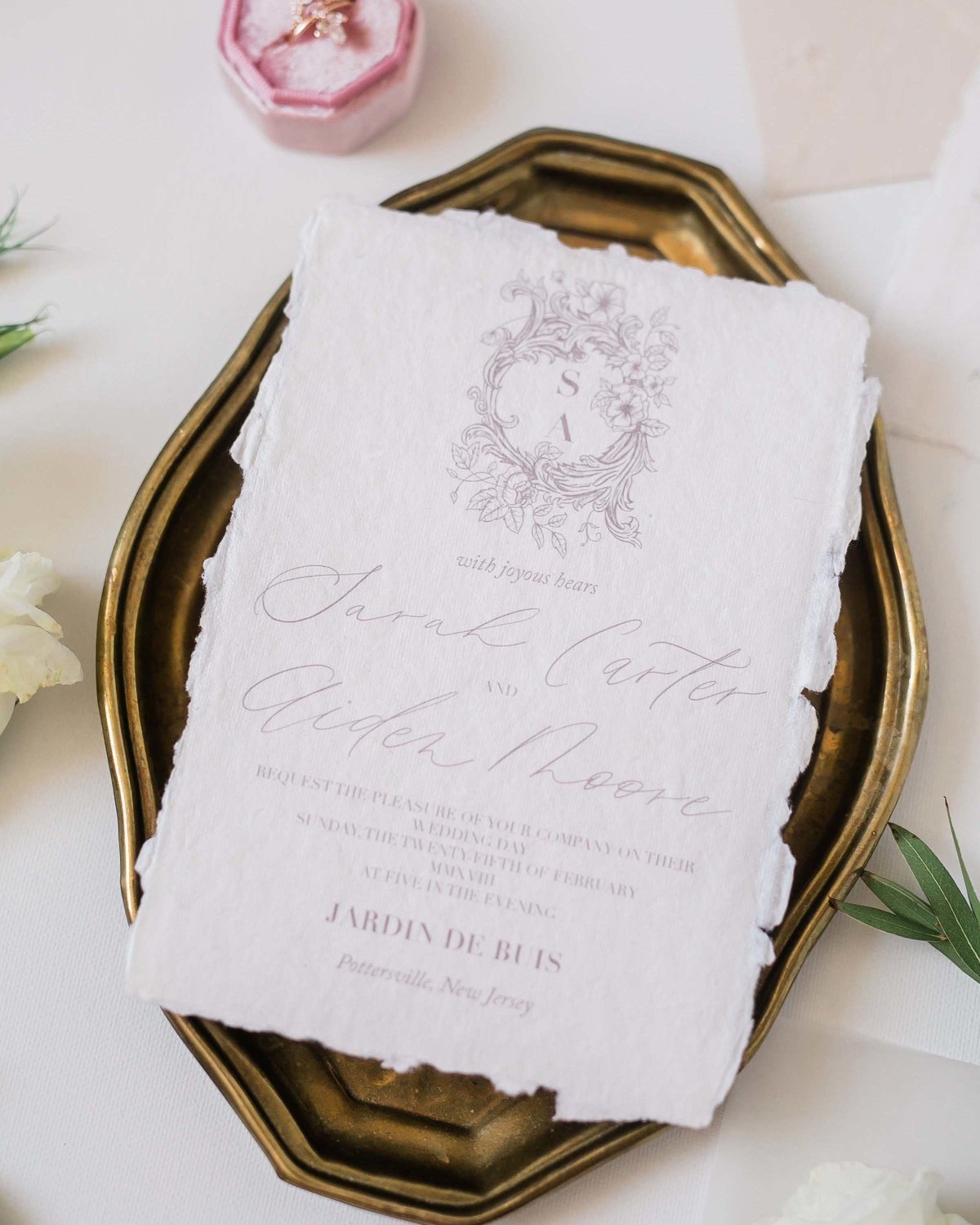 Plume & Fete romantic fine art wedding invitation suite invite card with wedding crest