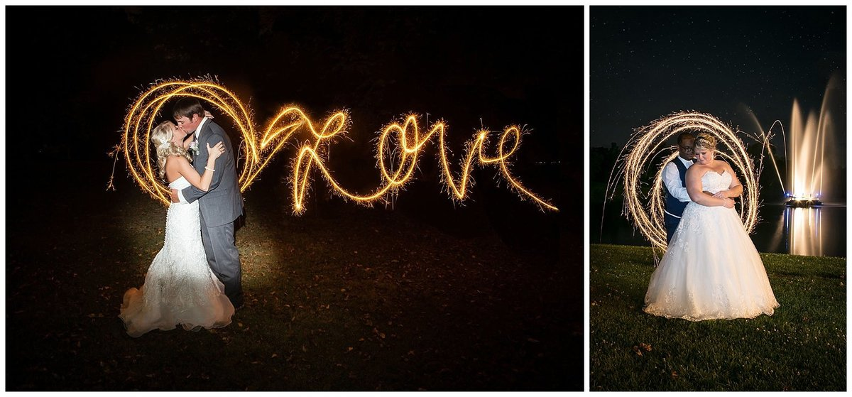 Love is spelled out using a sparkler next to a bride and groom kissing at Lakeside Reflections