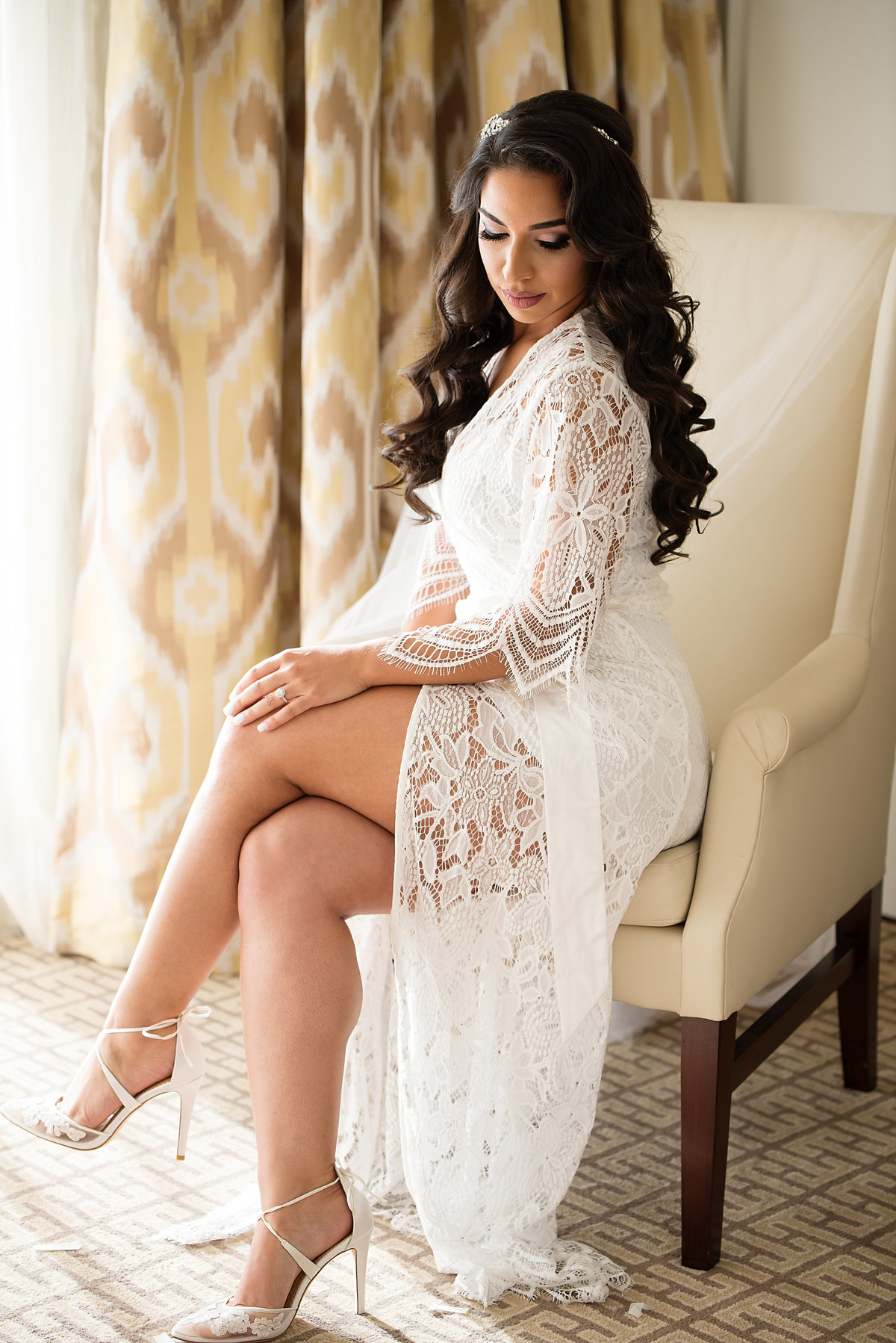 Trump National Doral Wedding and Bride with Lace Robe