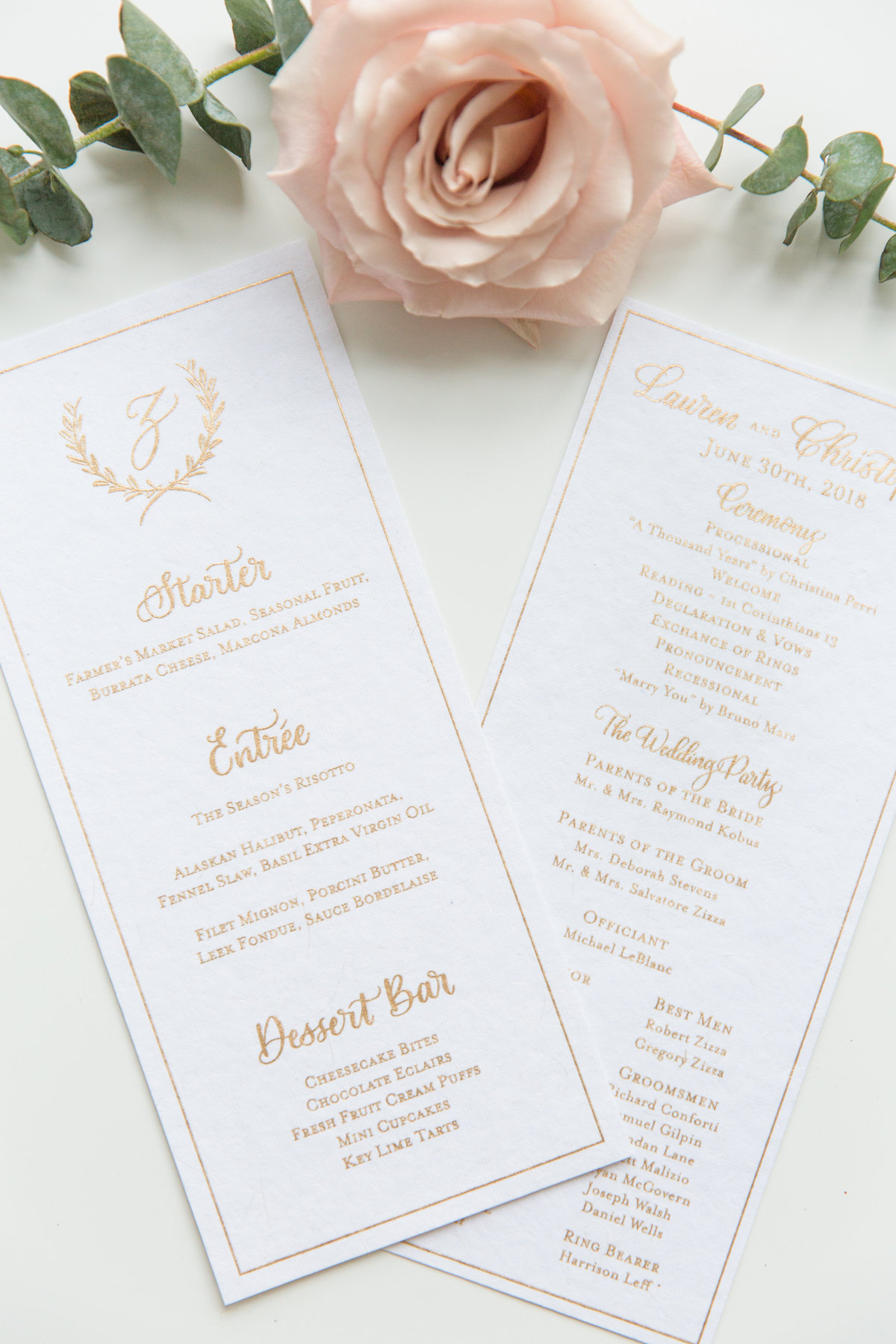 Beautiful gold ink wedding menus