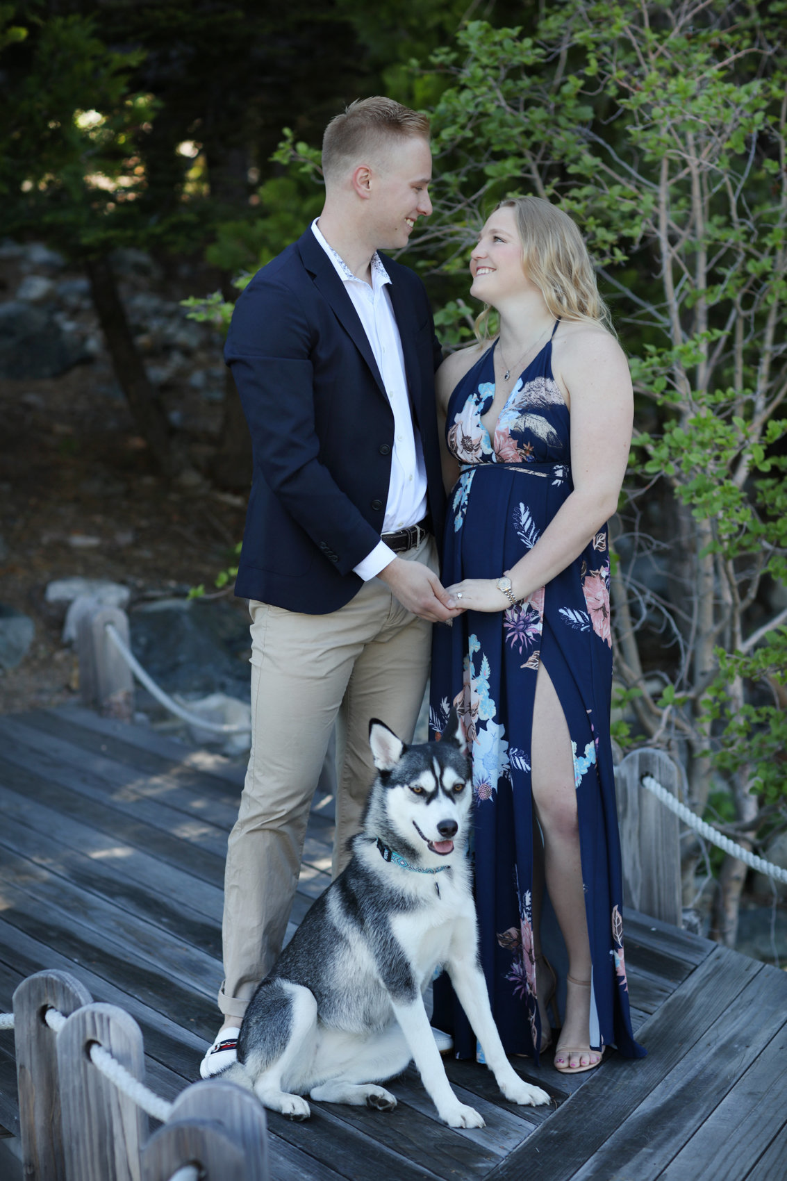 Engagement session portraits with dog lake tahoe, california