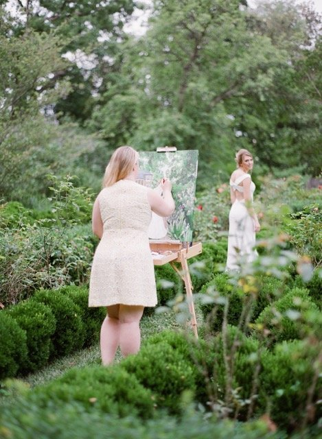 Artist Brittany Branson live paints a bride at Tudor Place in Washington, DC