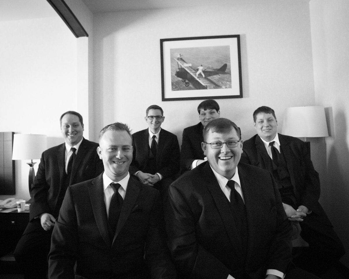 Groom and Groomsmen group shot, hotel room, Chicago IL.