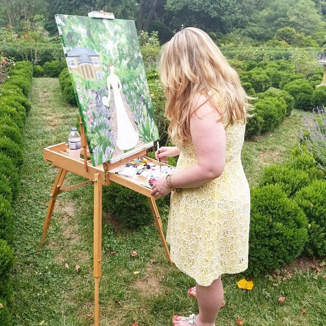 Brittany Branson live painting in the rose garden of Tudor Place Washington DC