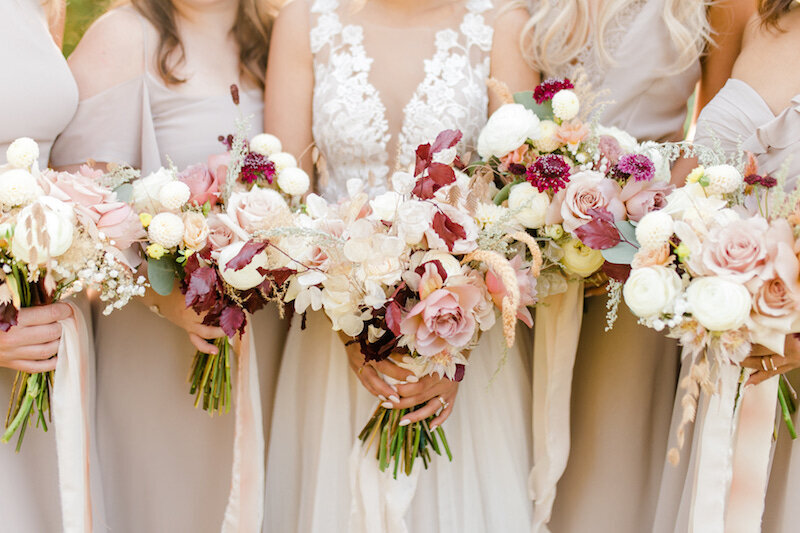 Close up of bouquets for bride and bridesmaids