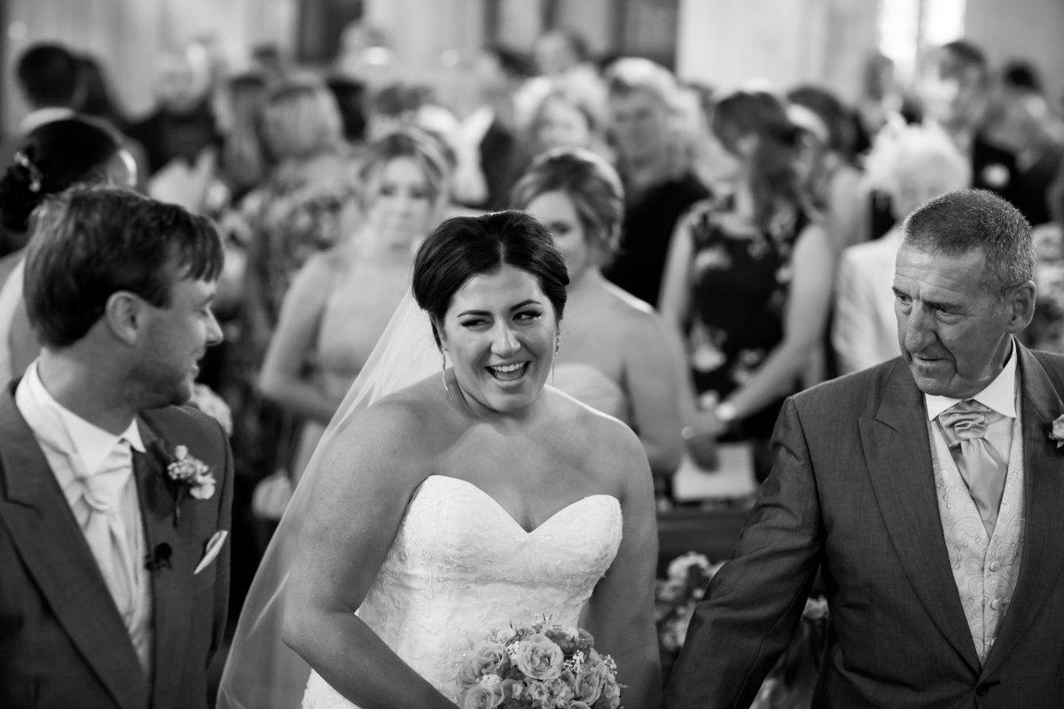 bride at chruch wedding in rural devon