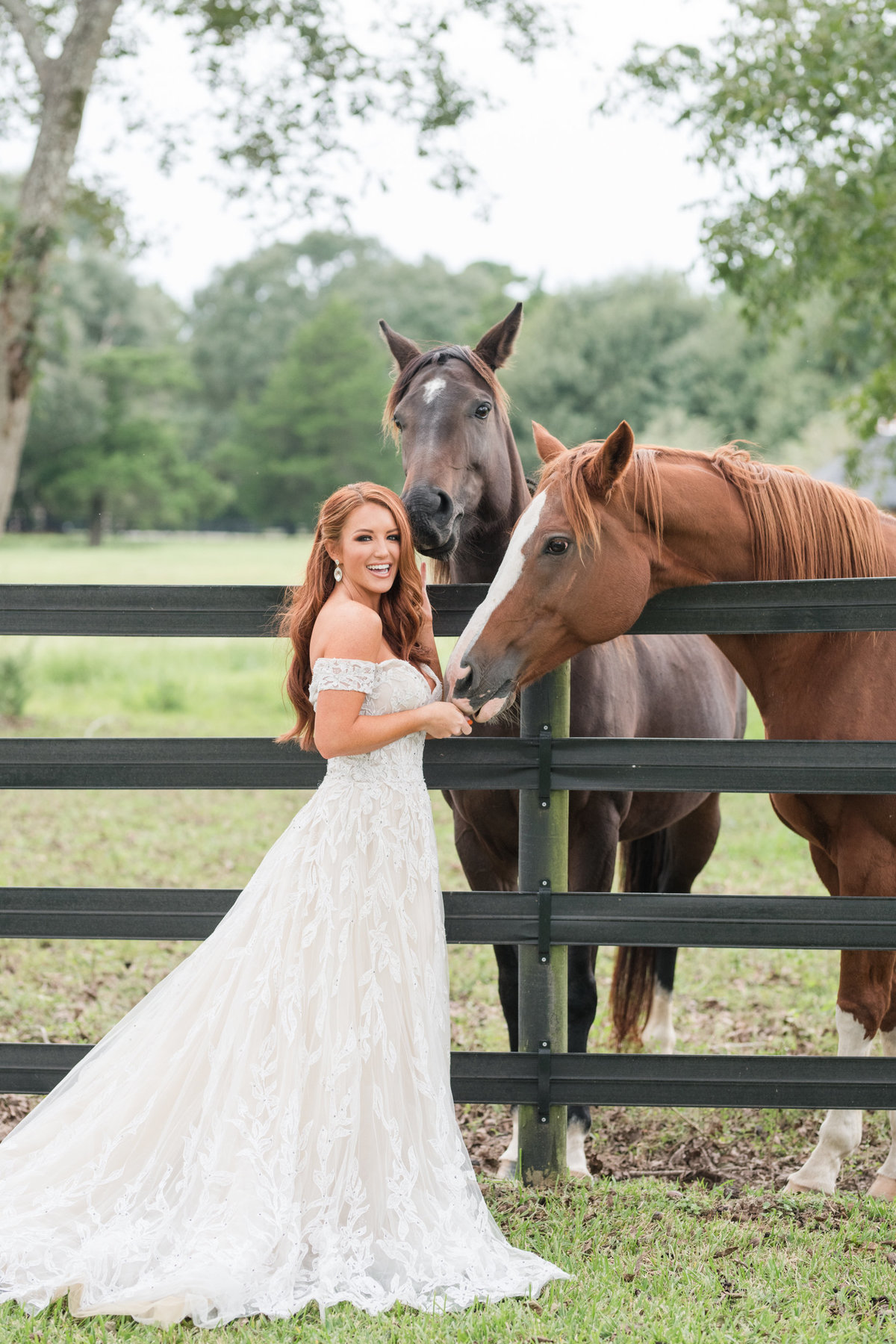 Bridal Portrait with horses