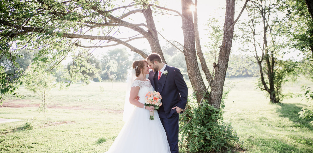 Foreheads together at Cason's Cove Wedding Venue by Knoxville Wedding Photographer, Amanda May Photos.