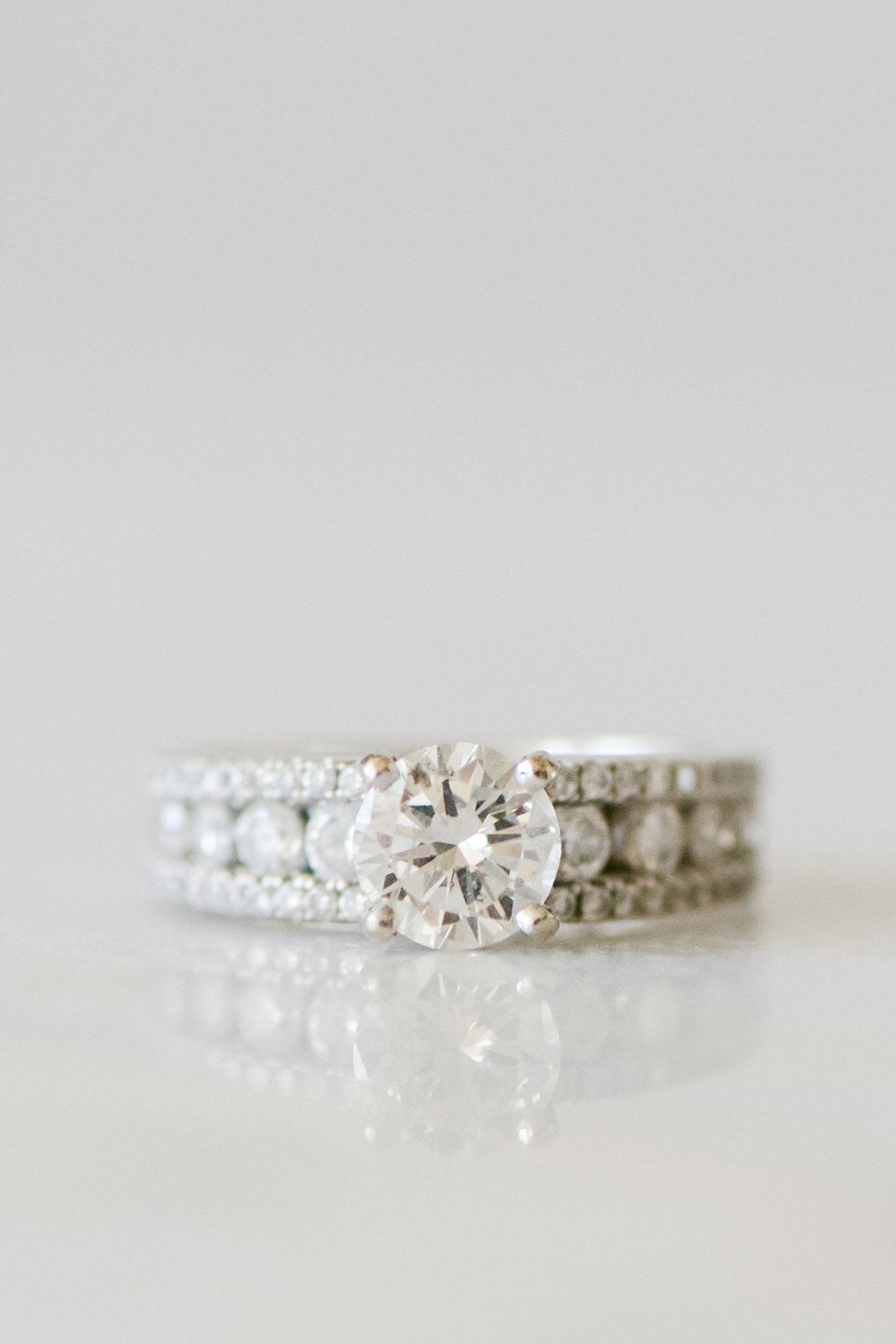 CLose up photo of Bride's Diamond wedding ring
