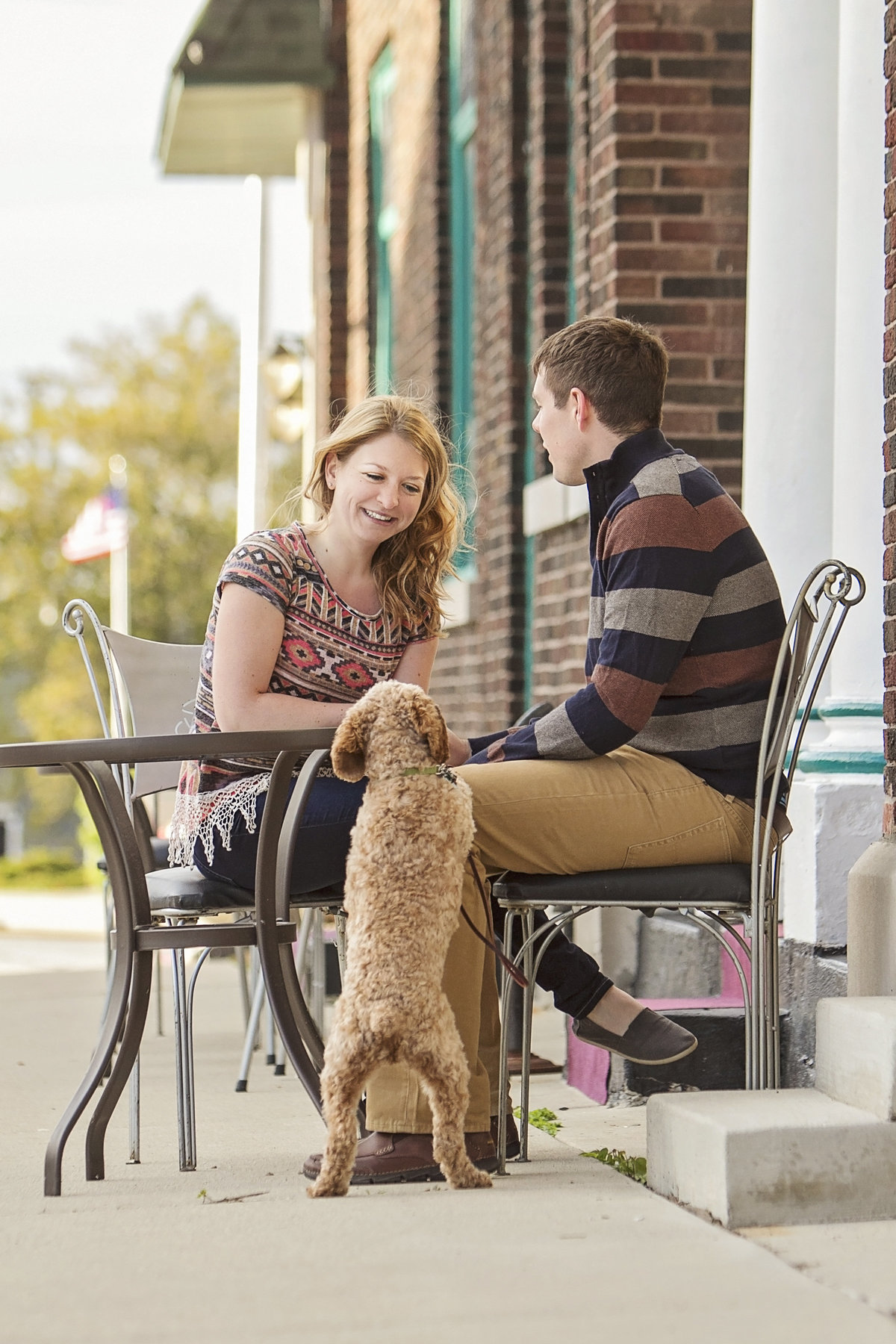 Engagement pictures with pet dog