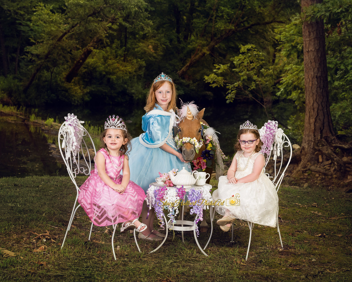 princess tea party with unicorn