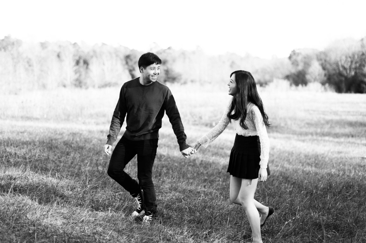 raleigh black and white engagement photo