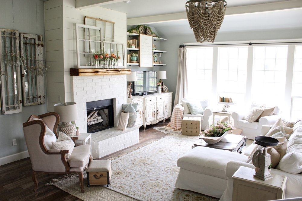 CottonStem.com+farmhouse+living+room+white+furniture+beaded+chandelier