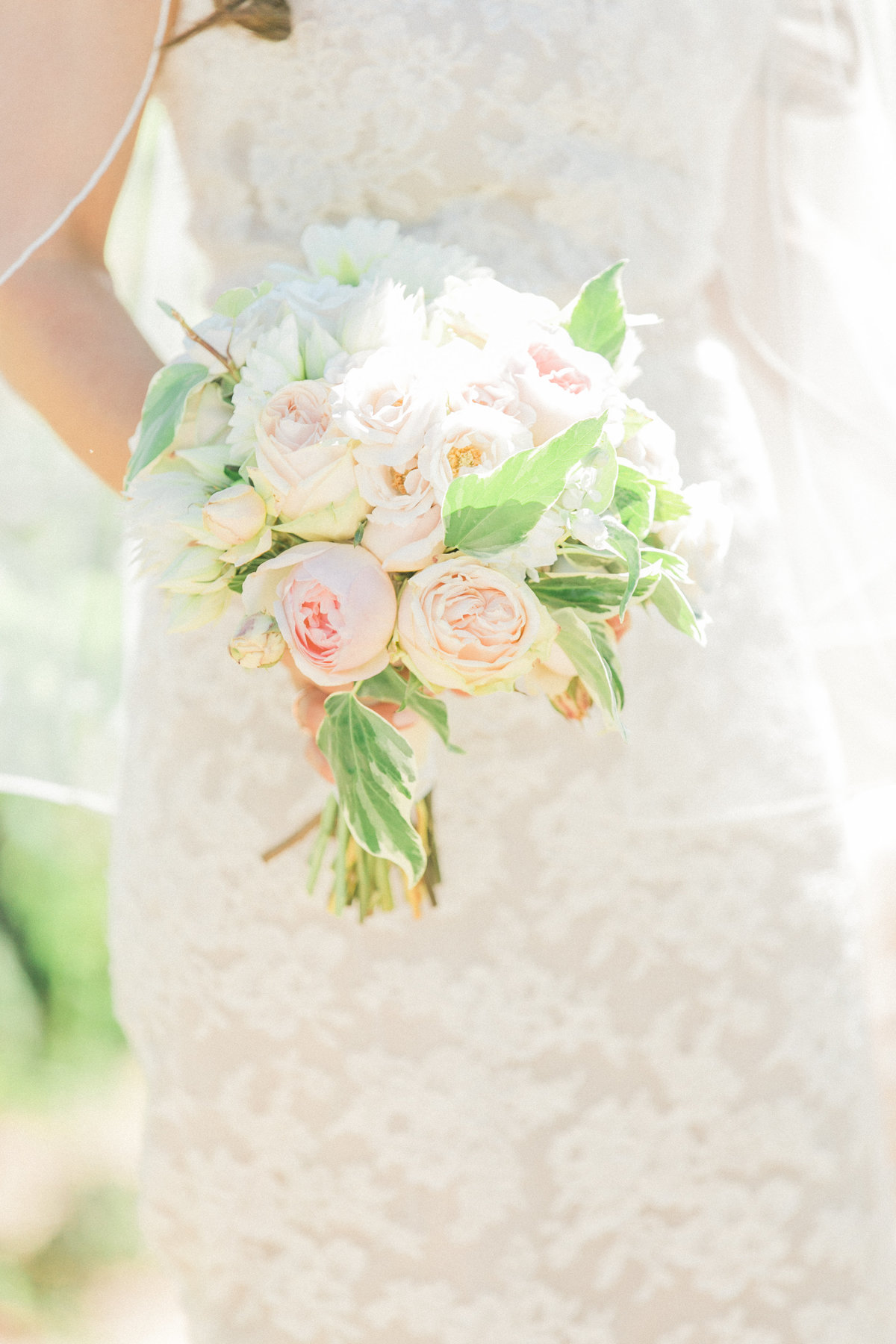 Blush Pink Peony Peach Roses Bouquet