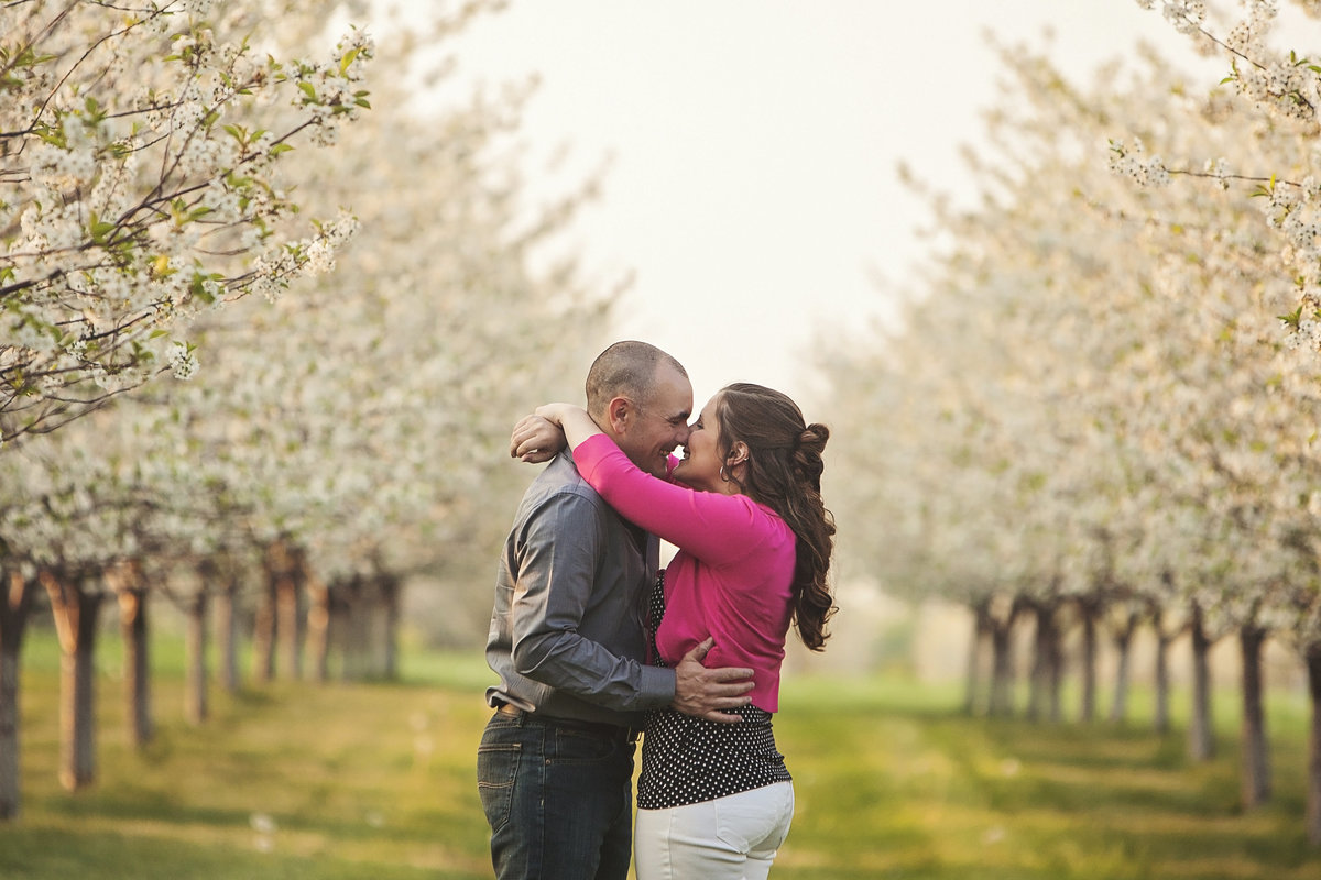 Door County apple orchard Spring engagement photos by Green Bay wedding photographer Casi Lea Photography