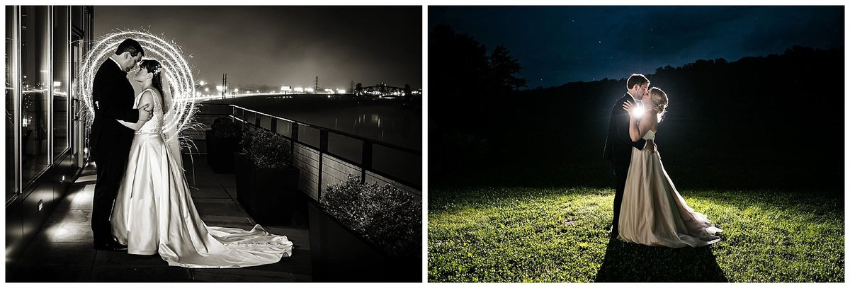 Night time photos of couples after dark at Muhammad Ali Center in Louisville.