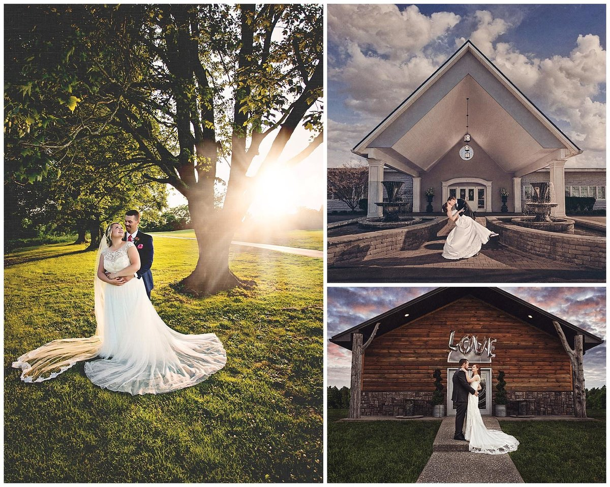 Dramatic wedding photos with sunflares outside Woodhaven Coutnry Club  and Loralee in Kentucky.