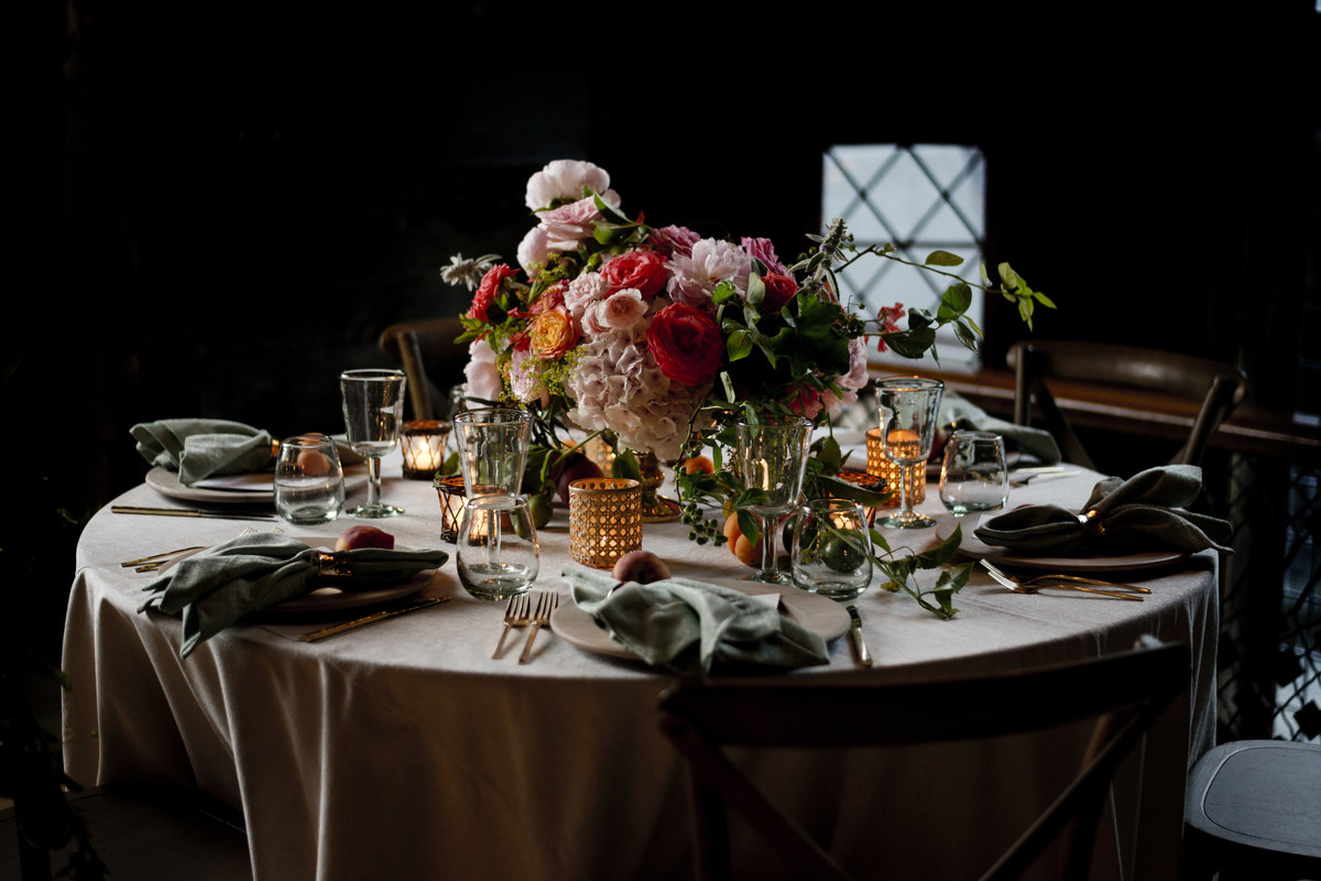 Wedding Reception Decor, Tablescape with Intense florls by Erin Tetterton Photography