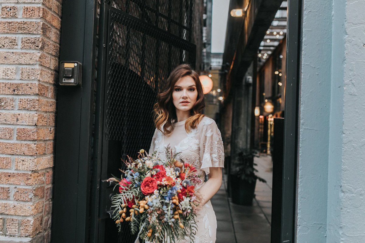 Downtown bridal portrait in the neightborhood of Capital Hill, in Seattle Washington