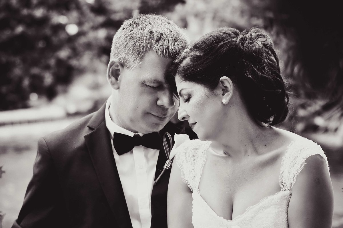 B+W bride and groom share a quiet moment together. Photo by Ross Photography, Trinidad, W.I..