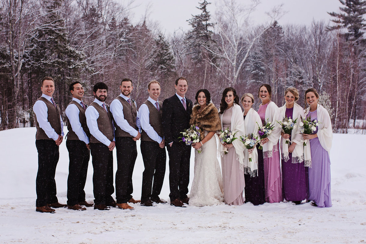 bridal party winter wedding, purple wedding