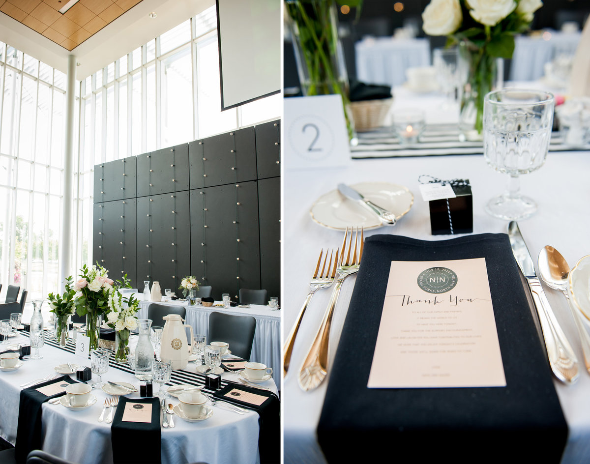 Grand Forks Alumni Center University of North Dakota wedding venue. Classic black tie wedding settings photographer kris kandel