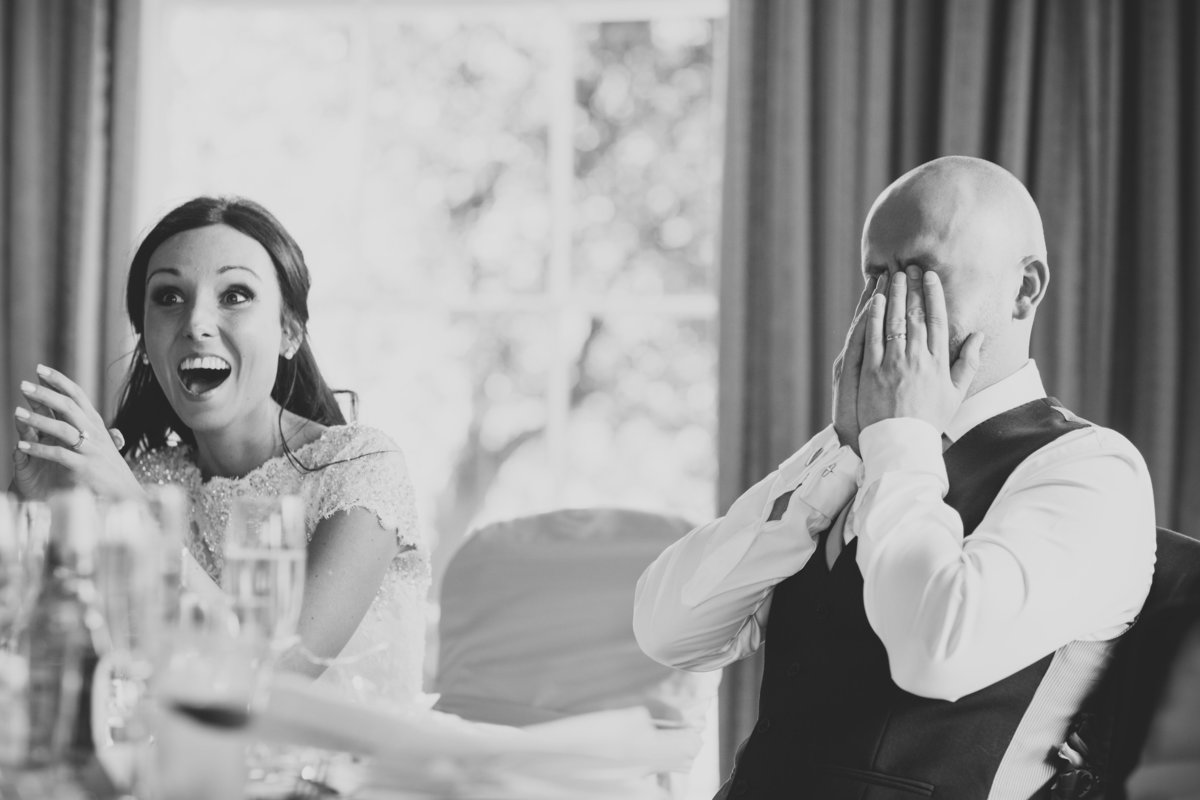 bride and groom surprise in the speech at rudding park