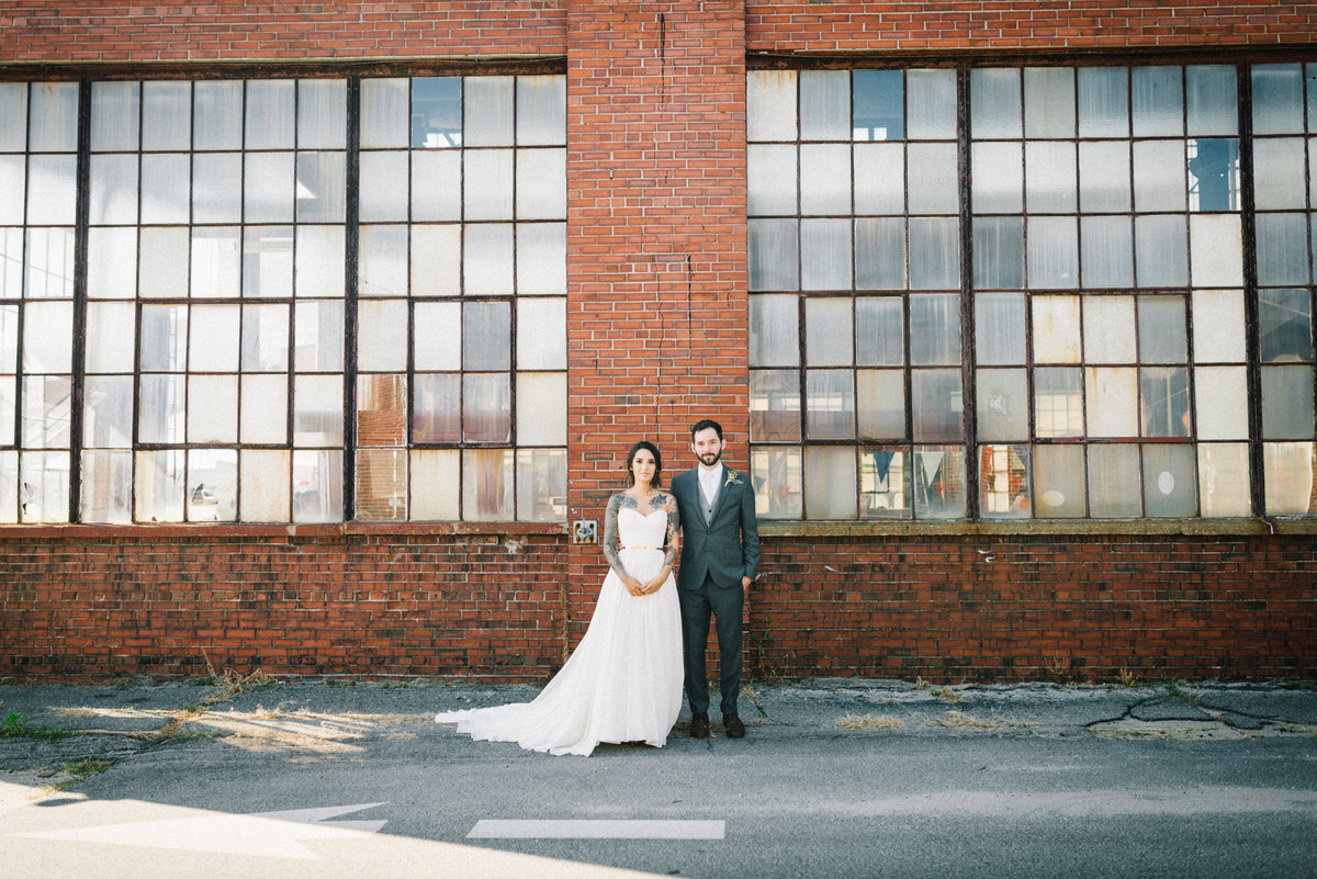 industrial portland maine wedding couple