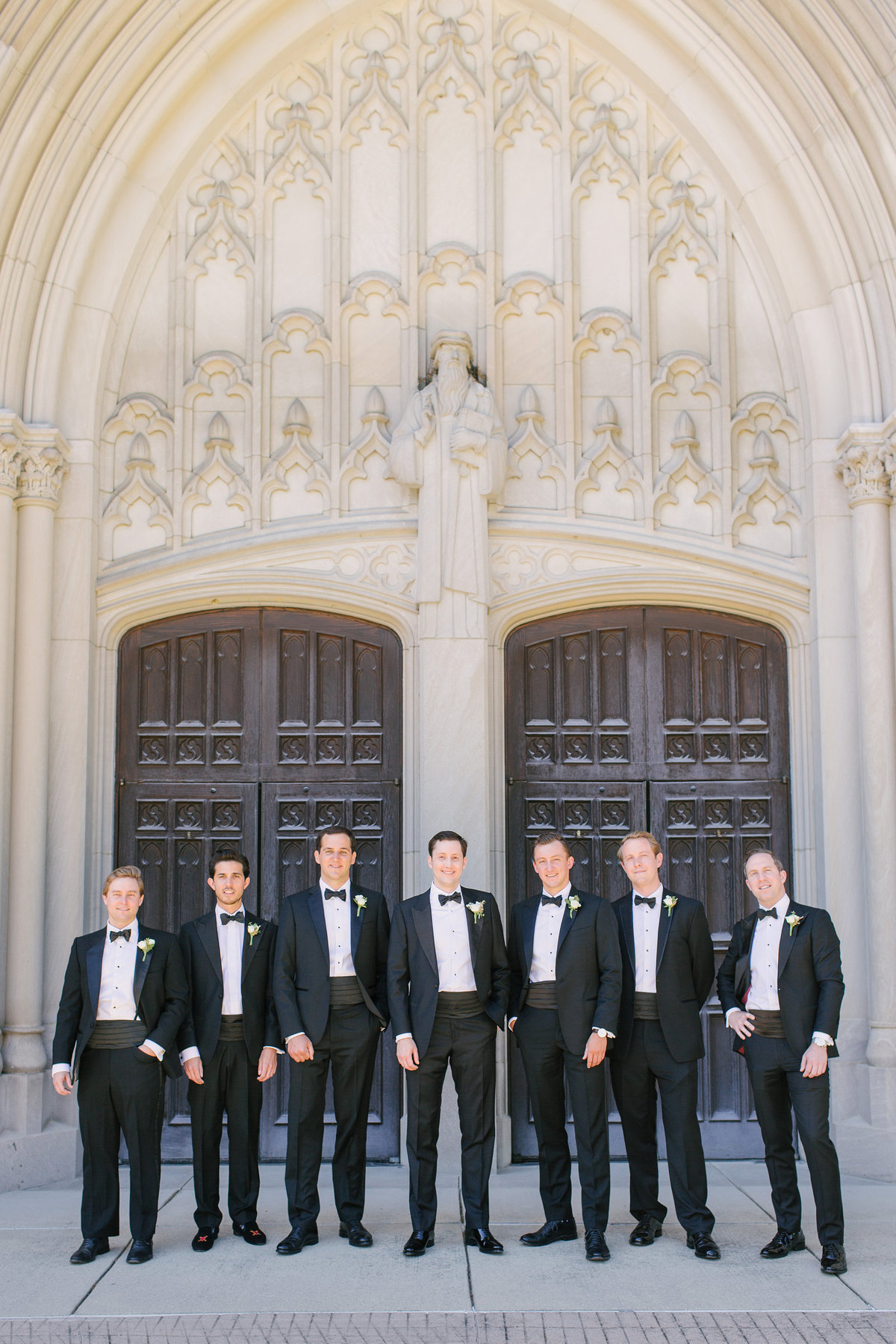 Scottish Rite Cathedral Wedding Lace Wedding Bride and Groom Groomsmen Photo