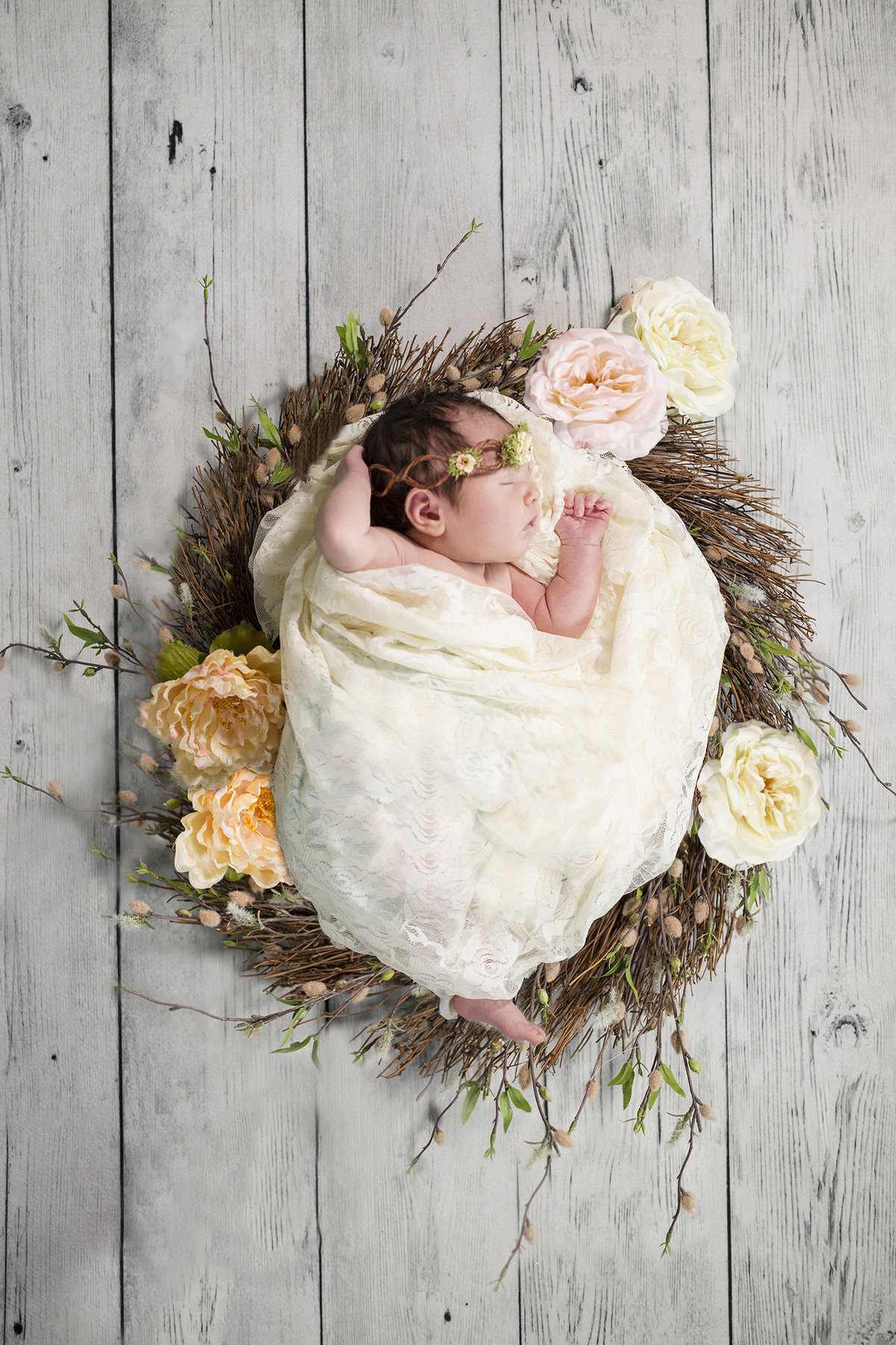 flowers and wreath with newborn