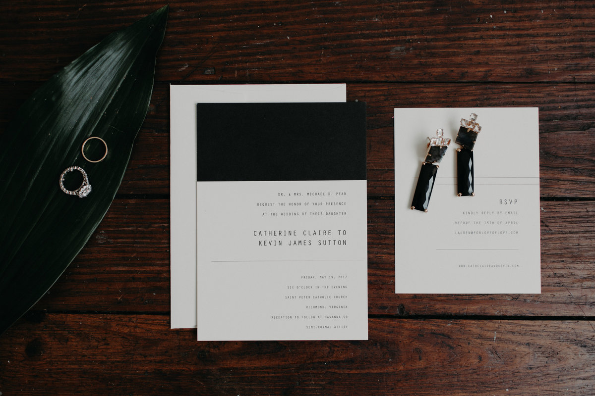 Minted Invitations from Fashion blogger Cath Claire gets married in a sequin Jenny Packham gown in her Havana-inspired, high fashion wedding with wedding planner For Love of Love.