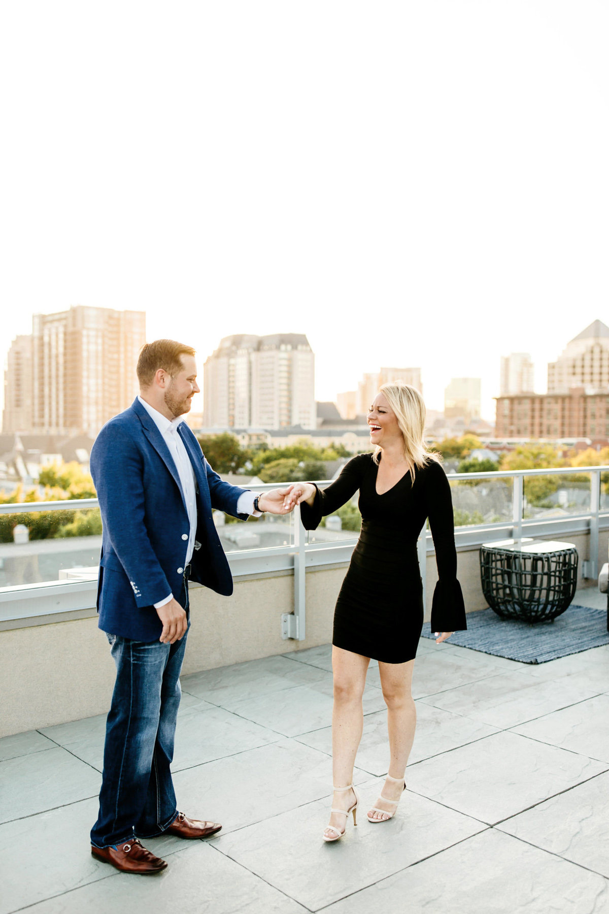 Eric & Megan - Downtown Dallas Rooftop Proposal & Engagement Session-90