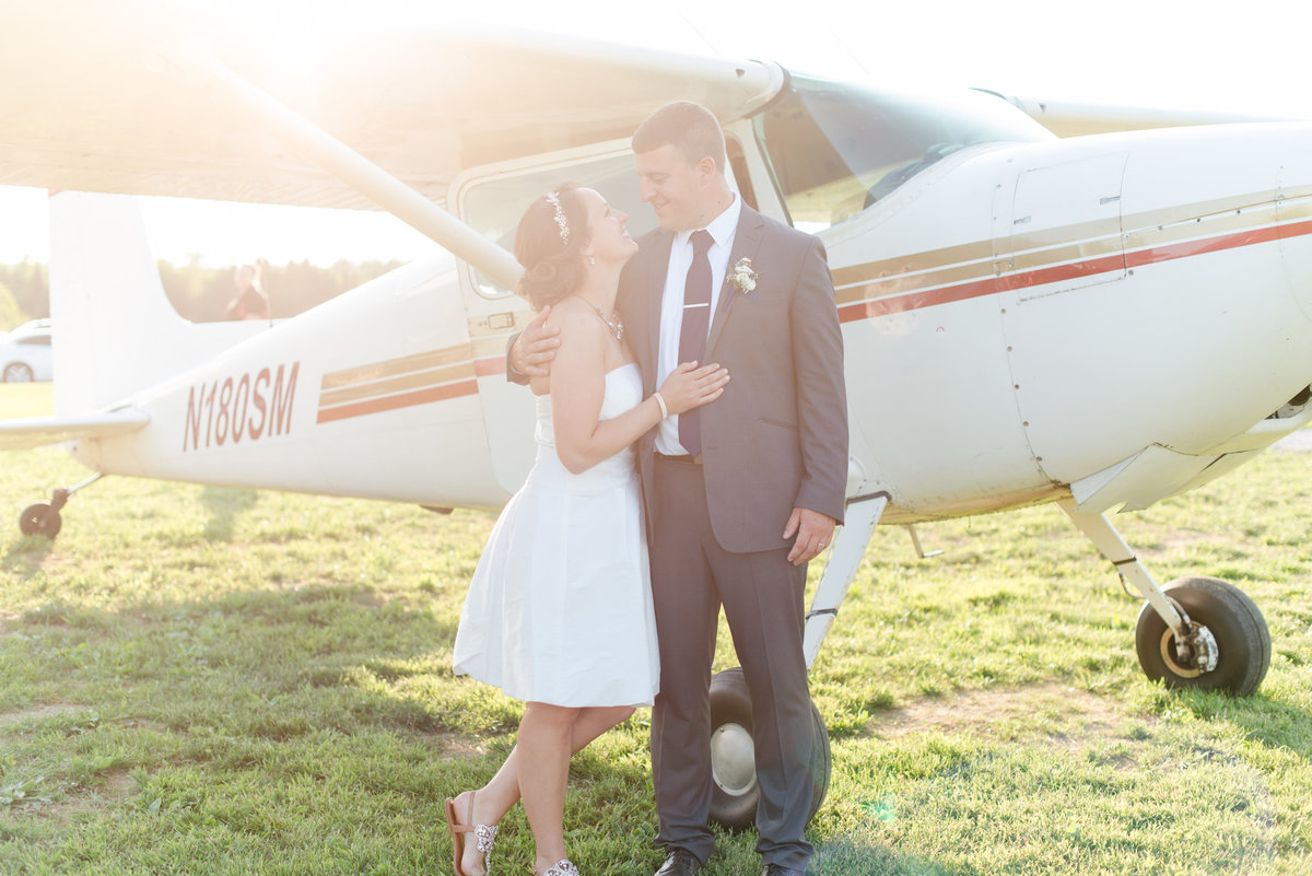 airplane wedding with golden hour