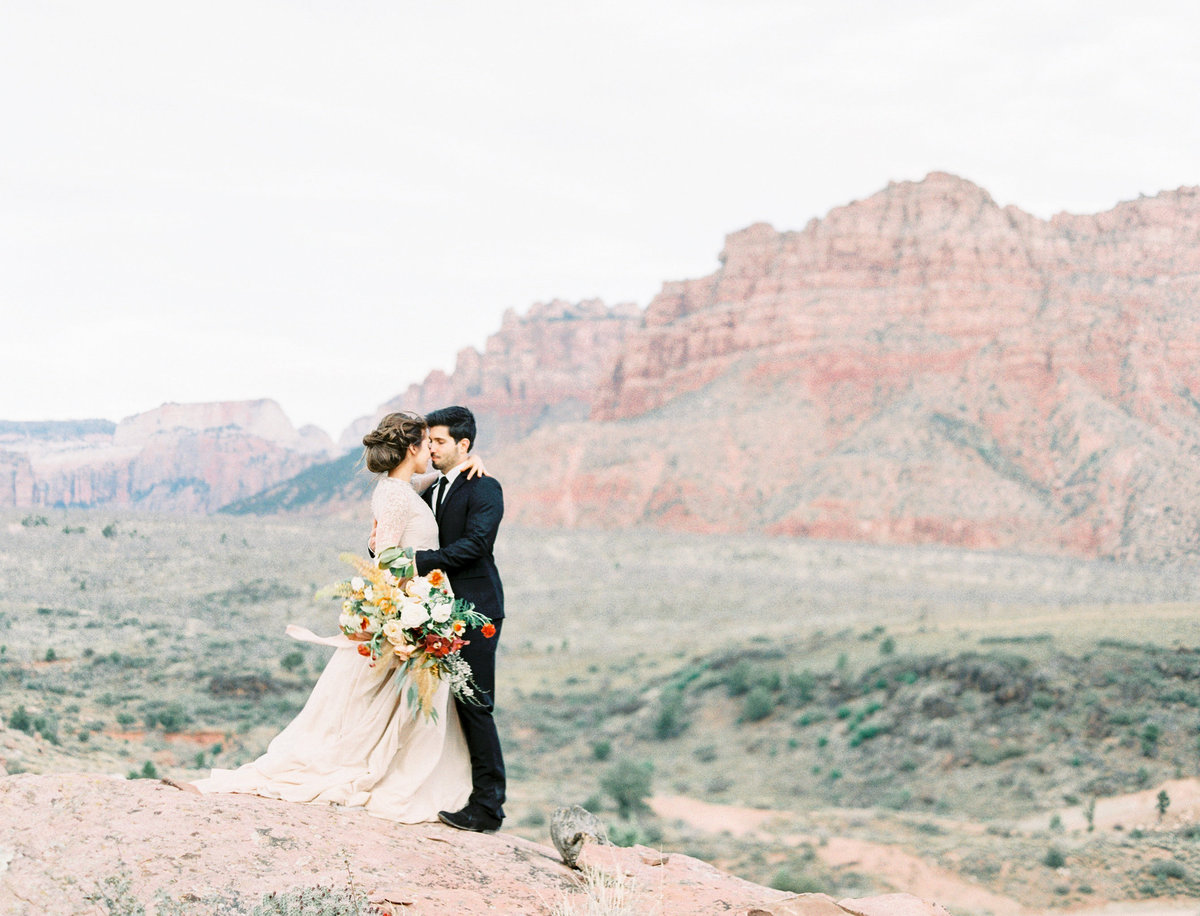 Cathy Telle gown on bride Zion National Park elopement