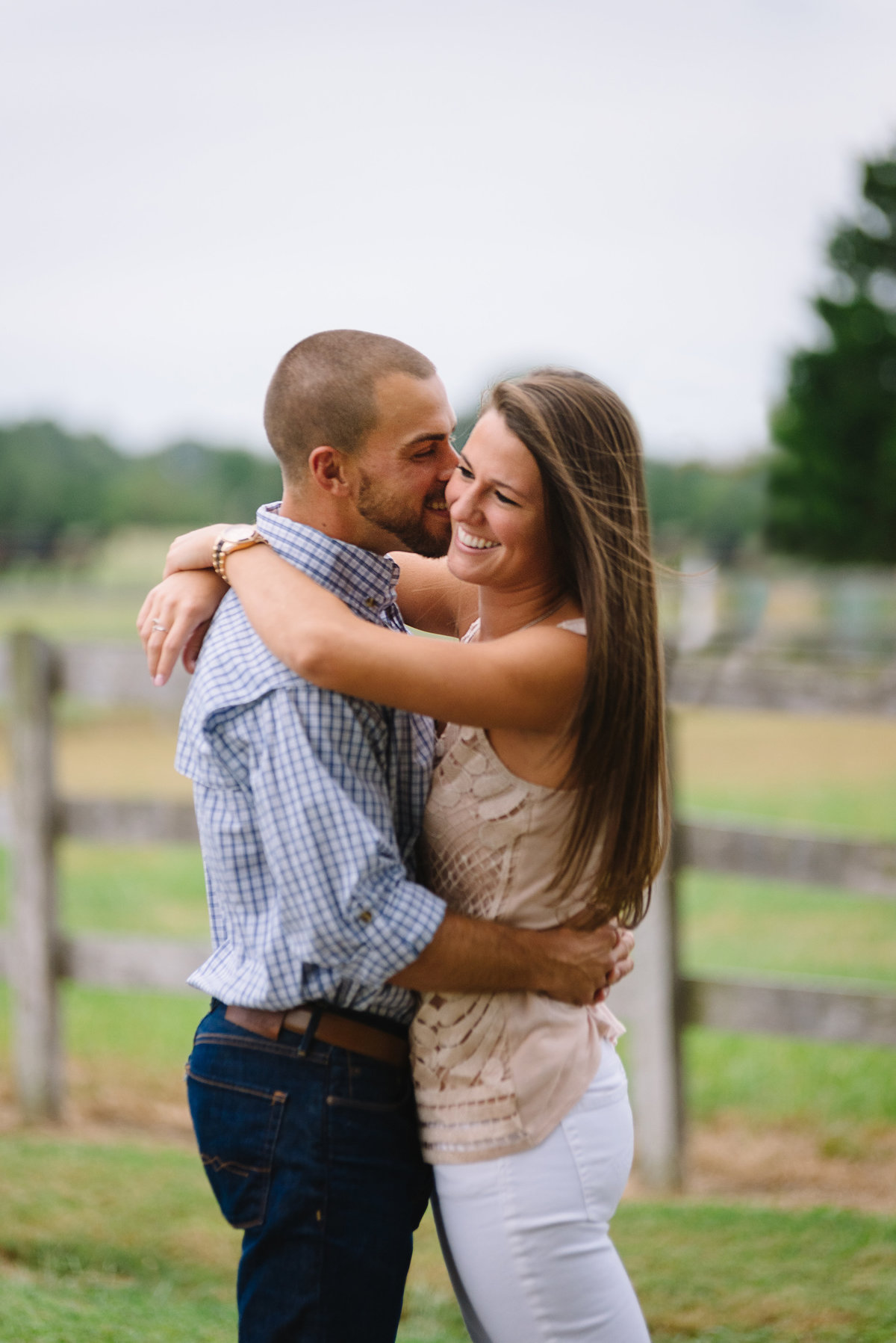 cambridge md engaged couple on farm