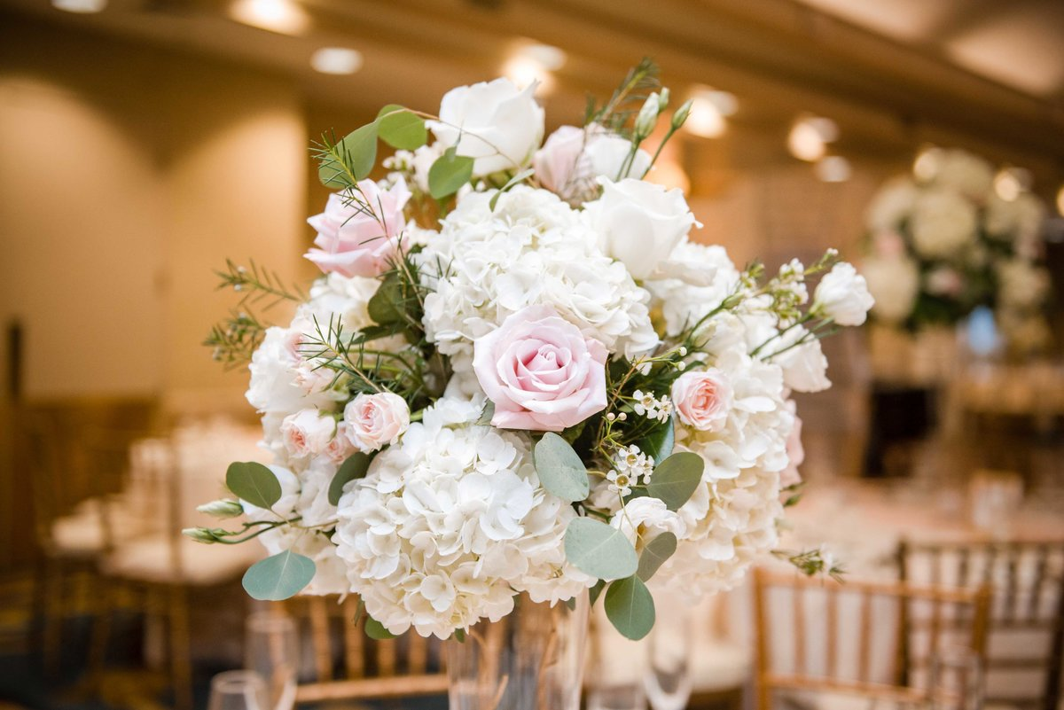 20 Pink white and blush roses centerpiece for weddings at waters edge