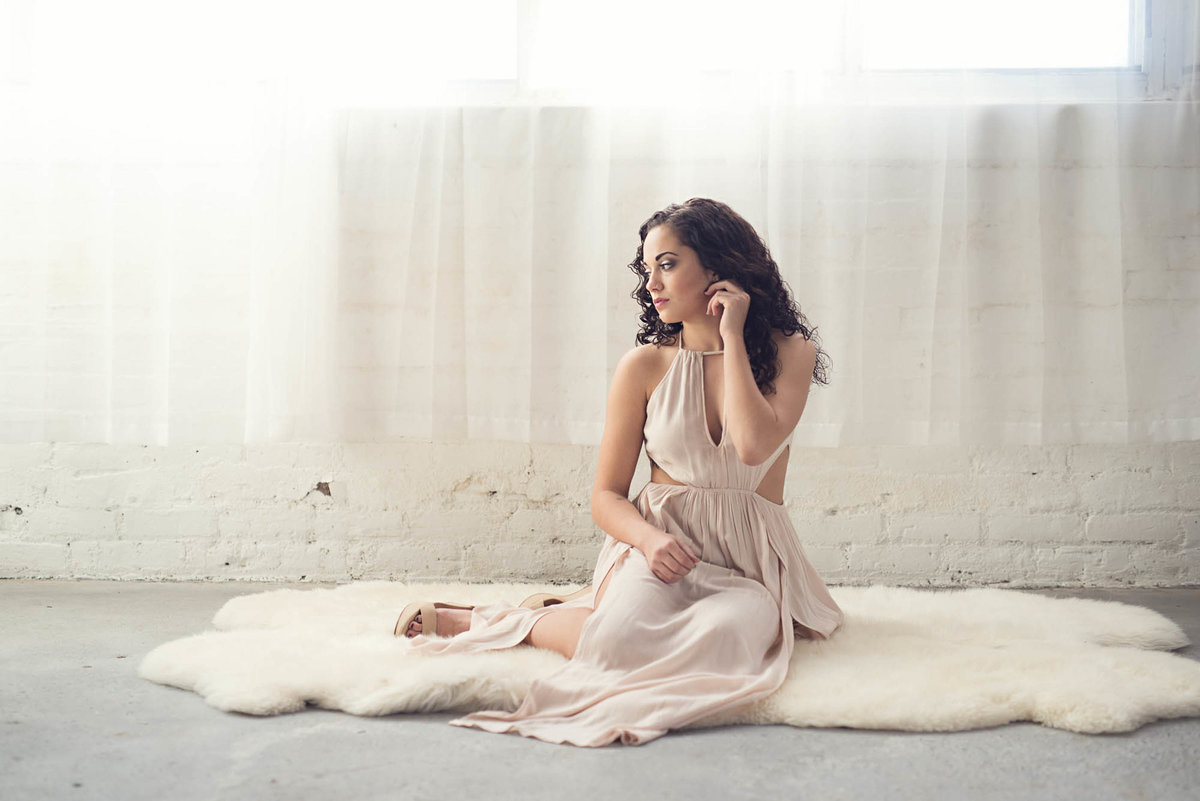 Blush boho dress latina senior portrait photographer
