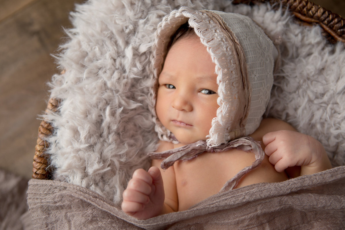 Awake newborn baby girl in a fur lined basket, wearing a vintage bonnet in Cornwall NY photography studio in the Hudson Valley